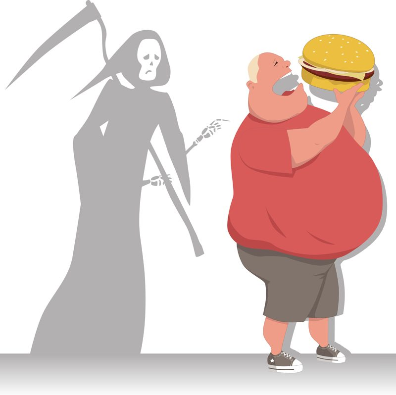 Obesity will limit your life span. You don't see too many obese old people