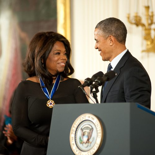 Oprah receiving Billionaire Medal from President Obama.  Just kidding!