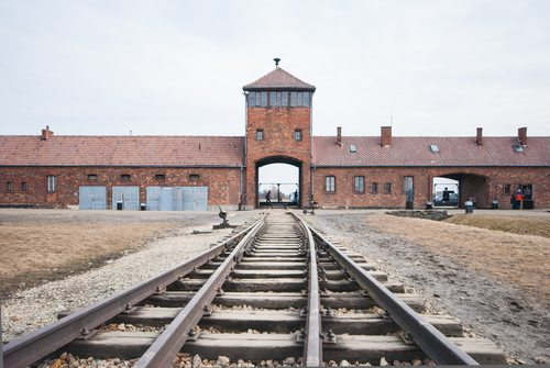 Auschwitz concentration camp. Blame atheism. Really... C'mon!