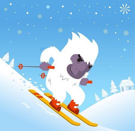 Sasquatch and Yeti love to ski just like you and me.