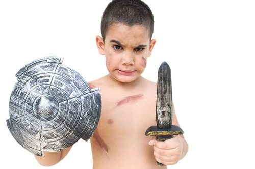 Roman Emporers used to play Gladiator dress-up just like this adorable little guy.