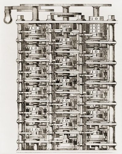 Small part of Babbage's mechanical calculating engine his Difference Engine an invention to which he dedicated his life.