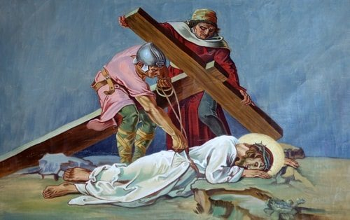 The Ninth Station of the Cross, Jesus falls for the Third Time
