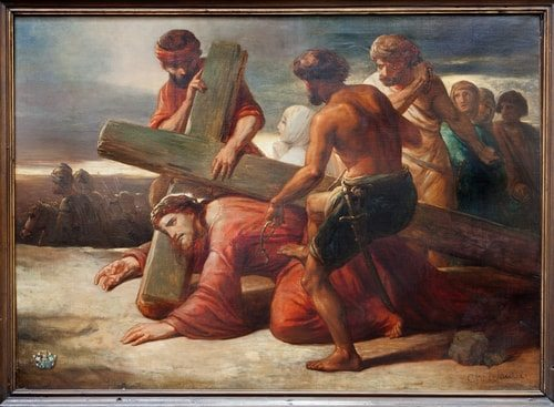 The Third Station of the Cross, Jesus falls the first time.