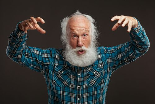 I imagine all members of the Bigfoot Field Research Organization look just like this guy.  And they're always making this bigfoot gesture and saying, Bigfoot was comin' right at me.