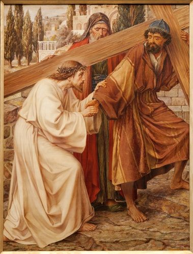 The Fifth Station of the Cross Simon of Cyrene carries Jesus' cross.