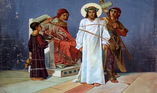 The First Station of the Cross, Jesus is Condemned to Die.