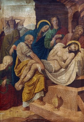 The Fourteenth Station of the Cross, Jesus is placed in the tomb