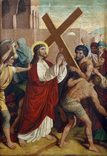 The Second Station of the Cross, Jesus Christ is Given His Cross.