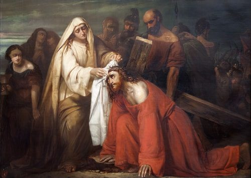 The Sixth Station of the Cross Veronica wipes blood off of Jesus' face.
