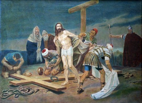 The Tenth Station of the Cross, Jesus is stripped of his clothing.