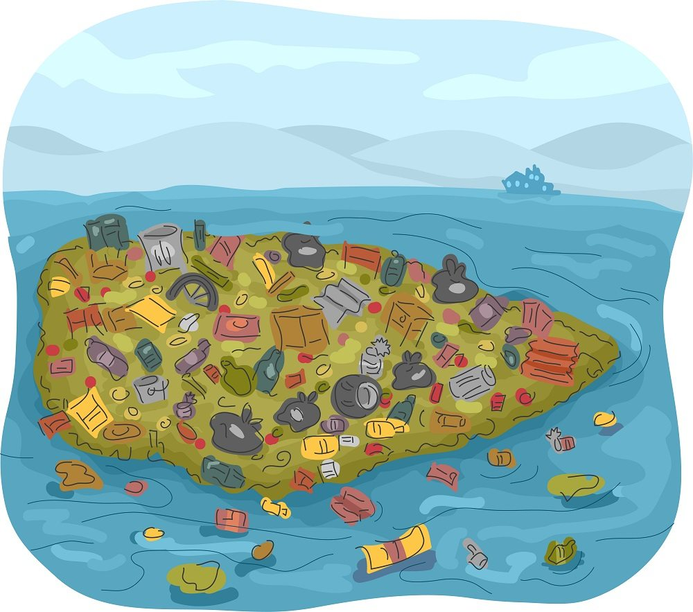 The Great Pacific Garage Bang Or Trash Vortex Located In North Ocean Is Like An Island Made Only By Prinlly Of Plastics